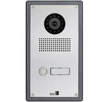Telecom Behnke series 5 silver 1 button IP doorstation stainless steel 5-0002-IP V2A flush mount
