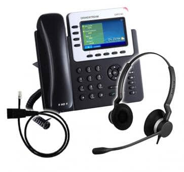 Grandstream GXP2140 + Jabra BIZ 2300 Duo + Adapter Cable 8800-00-25