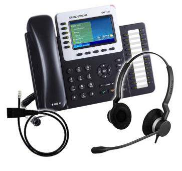 Grandstream GXP2160 + Jabra BIZ 2300 Duo + Adapter Cable 8800-00-25