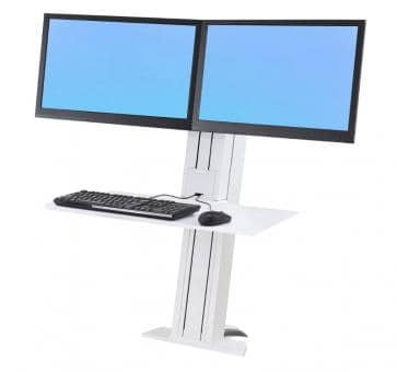 Ergotron WorkFit-SR Dual Monitor white Short Surface Sit-Stand Desktop Workstation 33-419-062
