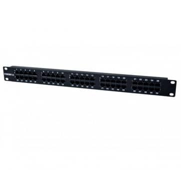 """19"""" Patchpanel 50xTP, CAT3, ISDN in black"""