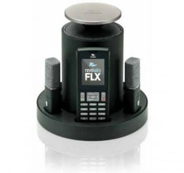 Revolabs FLX 2 analog conferencing system with an omnidirectional Mikforon and a clip-on microphone
